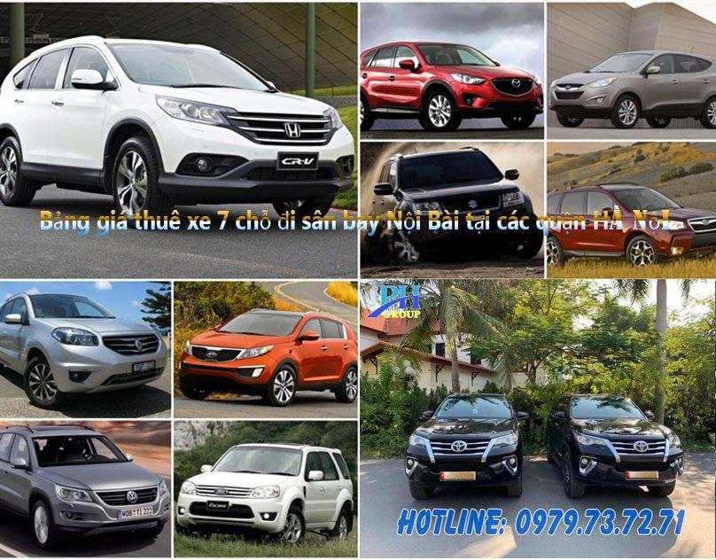 Bảng giá thuê xe 7 chỗ đi sân bay Nội Bài tại các quận Hà Nội