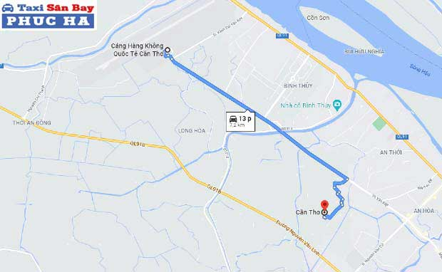 Quãng đường và thời gian di chuyển từ sân bay Cần Thơ về trung tâm thành phố