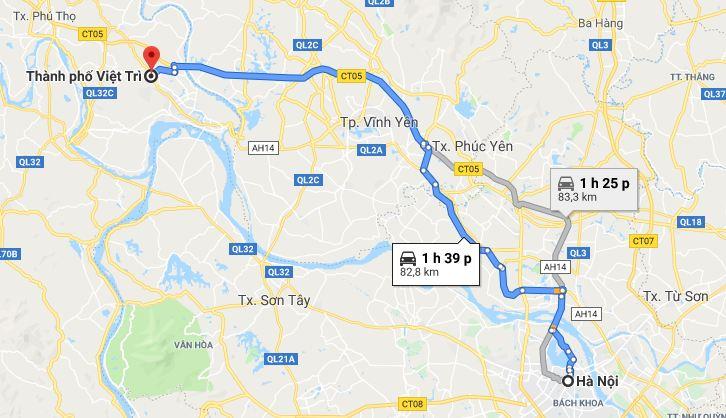 Di chuyển từ Hà Nội đi Phú Thọ bằng xemáy, ô tô cá nhân