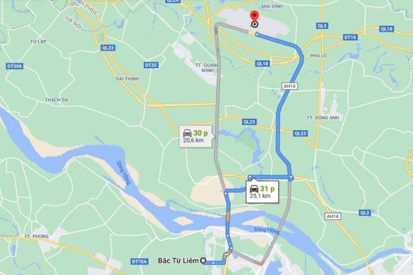 Từ quận Bắc Từ Liêm đến sân bay Nội Bài khoảng 21km