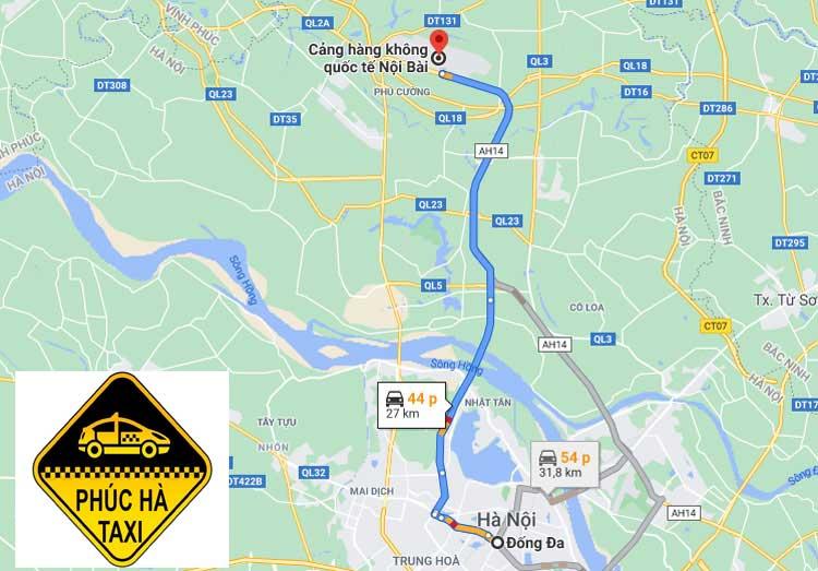 Đống Đa đến sân bay Nội Bài là khoảng 27 km