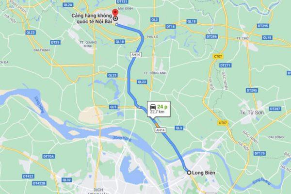 Long Biên cách sân bay Nội Bài khoảng 23km