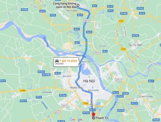 Thanh Trì điisân bay Nội Bài khoảng 40 km