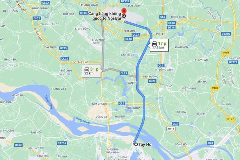 Từ quận Tây Hồ đến sân bay Nội Bài khoảng 18km