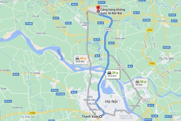 Từ quận Thanh Xuân đến sân bay Nội Bài khoảng 30km