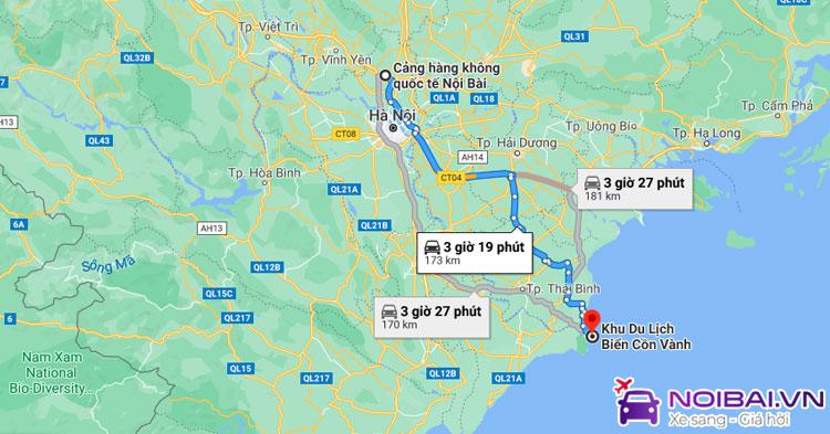 Phương tiện từ sân bay Nội Bài đi biển Cồn Vành, Thái Bình