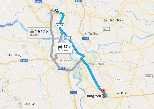 Các phương tiện từ sân bay Nội Bài đi Phố Hiến, Hưng Yên